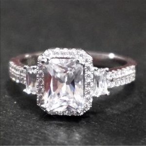 New Cubic Zirconia 14k Layer On 925 Silver Ring